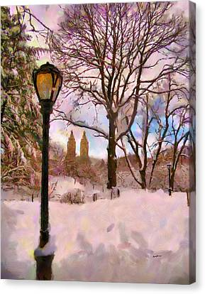 Winter In The Park Canvas Print by Anthony Caruso
