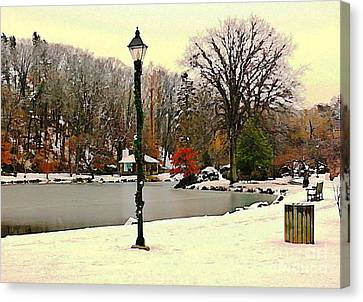 Winter In The Park Canvas Print by Judy Palkimas
