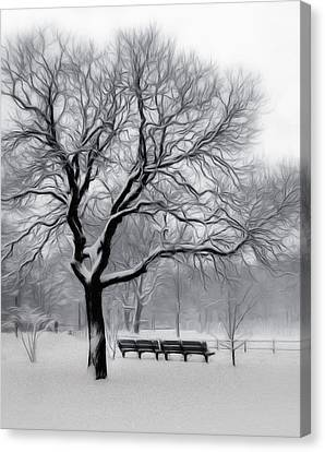 Canvas Print featuring the digital art Winter In The Park by Nina Bradica