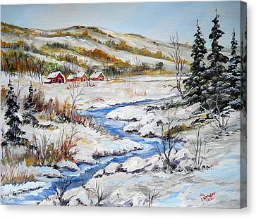 Winter In The Village Canvas Print by Dorothy Maier