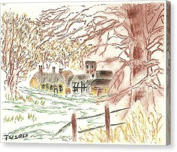 Winter In The Village Canvas Print by Tracey Williams