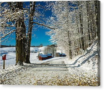Barn Storm Canvas Print - Winter In Vermont by Edward Fielding