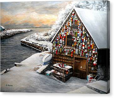 Winter Ipswich Bay Wooden Buoys  Canvas Print by Eileen Patten Oliver