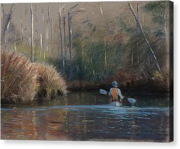 Winter Kayaker Canvas Print by Christopher Reid