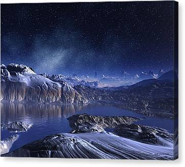 Snowy Night Night Canvas Print - Winter Lake Snowy Night by Judi Suni Hall