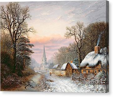 Bare Trees Canvas Print - Winter Landscape by Charles Leaver