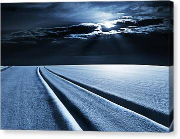 One Point Perspective Canvas Print - Winter Landscape In Moonlight by Wladimir Bulgar