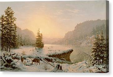 Snow-covered Landscape Canvas Print - Winter Landscape by Mortimer L Smith