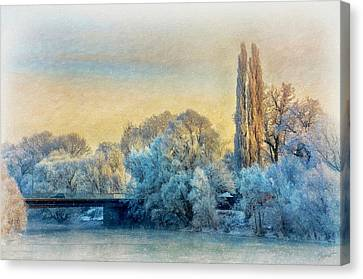 Winter Landscape With A Bridge Over The River Canvas Print by Gynt