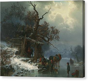 Winter Landscape With Figures On A Frozen River Canvas Print by Heinrich Hofer