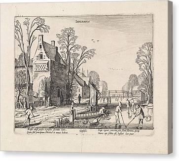 Winter Landscape With Flask Players On The Ice January Canvas Print by Jan Van De Velde (ii)