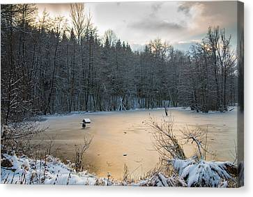 Winter Landscape With Frozen Lake And Warm Evening Twilight Canvas Print by Matthias Hauser