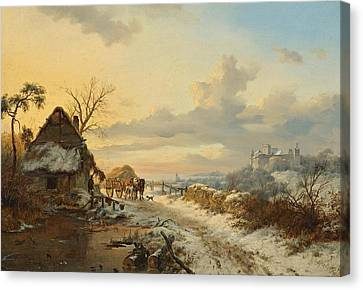 Horse And Cart Canvas Print - Winter Landscape With Horses And Carts by Celestial Images