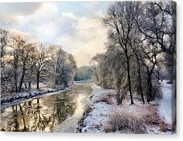 Winter Landscape With River Canvas Print by Gynt