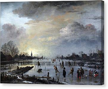 Canvas Print featuring the painting Winter Landscape With Skaters by Gianfranco Weiss