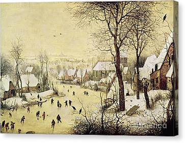Winter Landscapes Canvas Print - Winter Landscape With Skaters And A Bird Trap by Pieter Bruegel the Elder