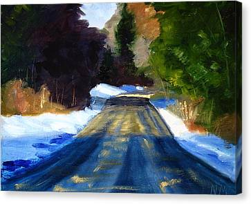 Snow Melt Canvas Print - Winter Light by Nancy Merkle
