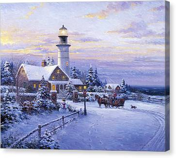 Winter Lighthouse Canvas Print by Ghambaro