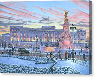 Winter Lights Buckingham Palace Canvas Print by Richard Harpum