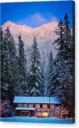 Winter Lodging Canvas Print by Inge Johnsson
