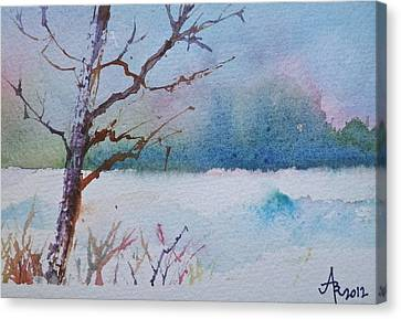 Winter Loneliness Canvas Print by Anna Ruzsan