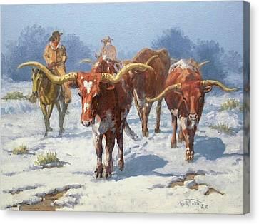 Winter Longhorns Canvas Print by Randy Follis