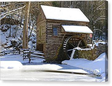 Winter Mill Canvas Print by Paul Ward