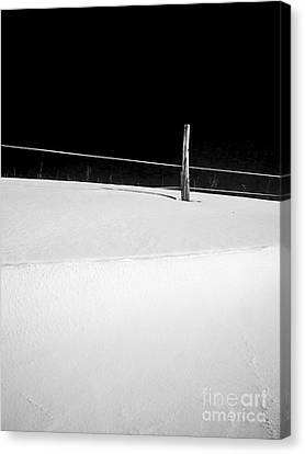 Snow Drifts Canvas Print - Winter Minimalism Black And White by Edward Fielding