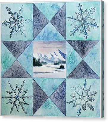 Winter Montana/ohio Square Canvas Print by Gina Gahagan