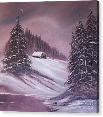 Canvas Print featuring the painting Winter Moon by Janice Rae Pariza