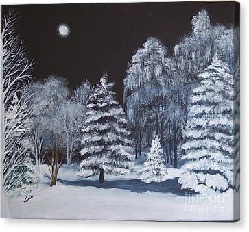 Winter Moonlight In The Country Canvas Print by Lucia Grilletto