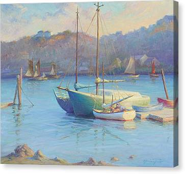 Winter Mooring Gloucester Canvas Print by Ernest Principato