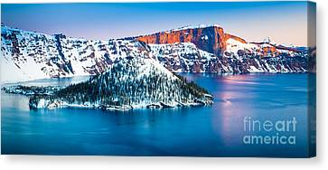 Wizard Island Canvas Print - Winter Morning At Crater Lake by Inge Johnsson
