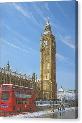 Charles River Canvas Print - Winter Morning Big Ben Elizabeth Tower London by Richard Harpum