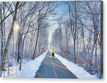 Jogging Canvas Print - Winter Morning In The Park by Alexey Stiop