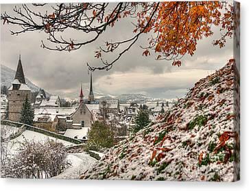 Winter Morning In Zug Canvas Print by Caroline Pirskanen