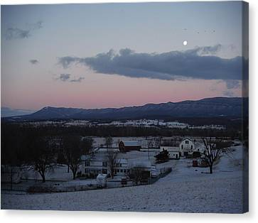 Winter Morning Moon Canvas Print by Michael Wawrzyniec