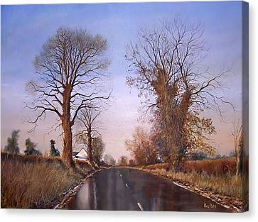 Winter Morning On Calverton Lane Canvas Print