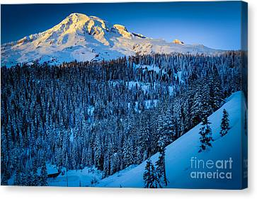 Winter Mountain Canvas Print by Inge Johnsson