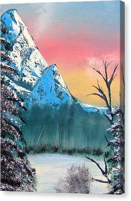 Canvas Print featuring the painting Winter Mountain Twilight by Marianne NANA Betts