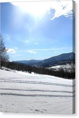 Winter Mountain Views Of Vly And Hunter Canvas Print by Patricia Keller