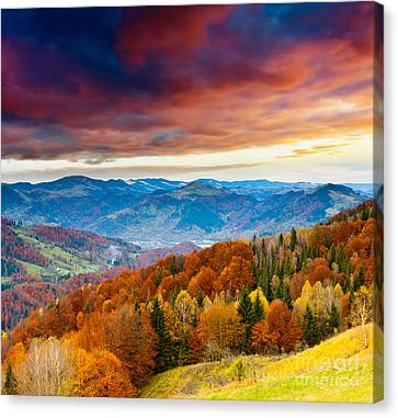 Canvas Print featuring the photograph Winter Mountains Landscape by Boon Mee