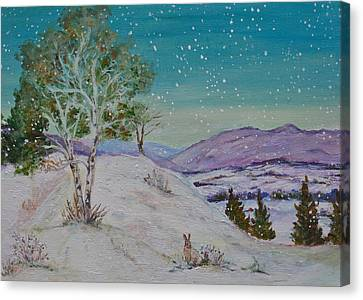 Winter Mountains With Hare Canvas Print