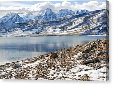 Winter Mt. Timpanogos And Deer Creek Reservoir Canvas Print by Gary Whitton