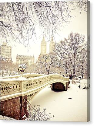 Winter - New York City - Central Park Canvas Print by Vivienne Gucwa