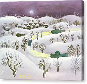 Moonlit Canvas Print - Winter Night, 1971 Oil On Canvas by Radi Nedelchev