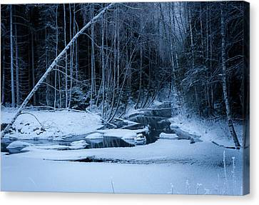 Winter Night At The River Canvas Print