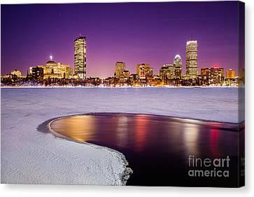 Winter Night In Boston Canvas Print by Benjamin Williamson