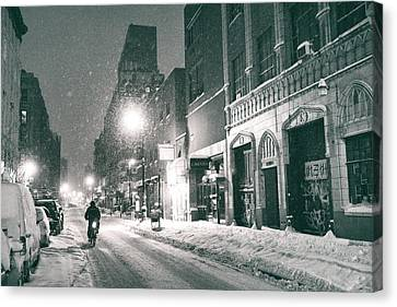 Snowy Night Night Canvas Print - Winter Night - New York City - Lower East Side by Vivienne Gucwa