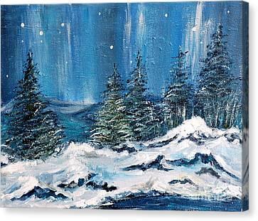 Winter Night Canvas Print by Teresa Wegrzyn